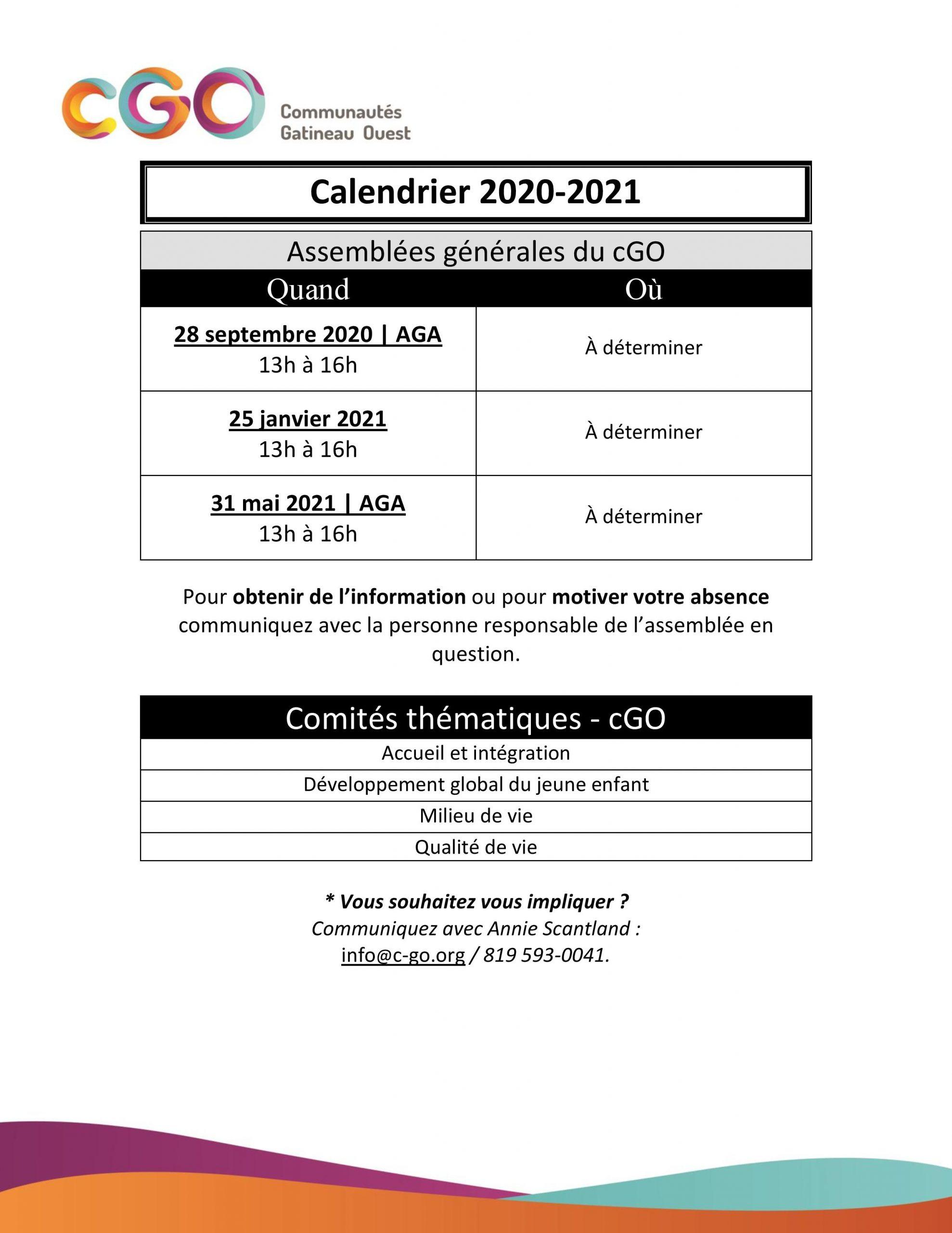 Calendrier des assemblées générales 2020 2021 — Communautés